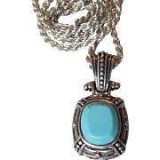"Sterling Silver & Turquoise Pendant on 24"" Sterling Chain Vintage Necklace"