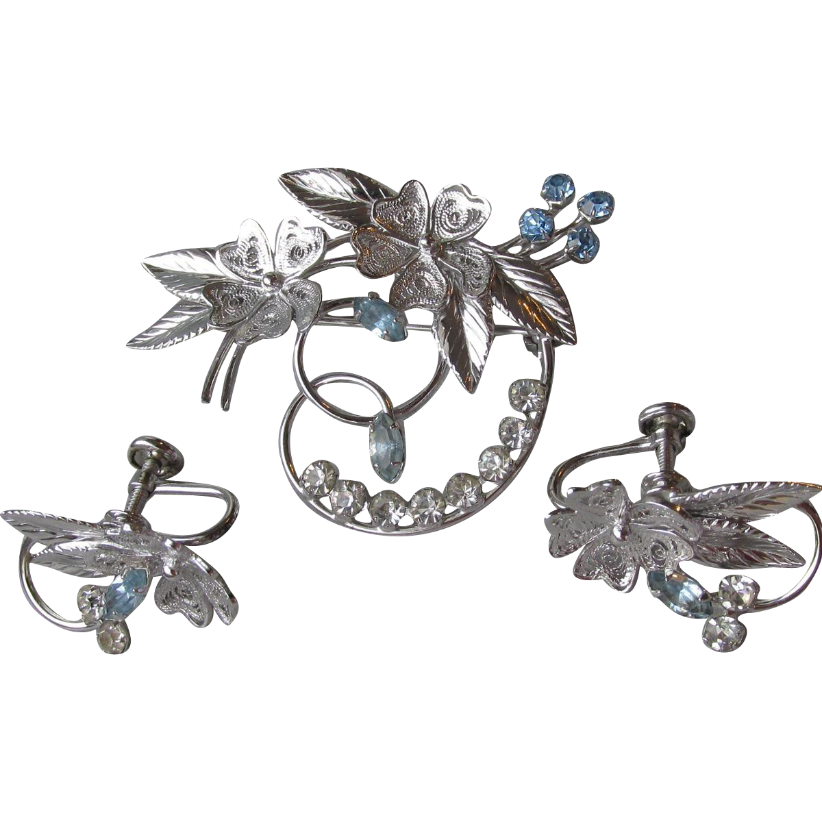 1950's Vintage Signed Carl-Art Sterling Silver Filigree & Rhinestone Flower Spray Pin & Earrings Set