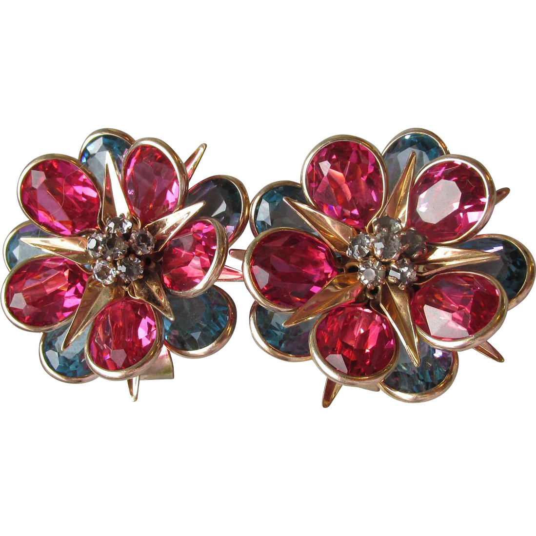 PAIR 1940's Vintage WALTER LAMPL Gold Filled Pink & Blue Collet Set Rhinestone Pin Pendants