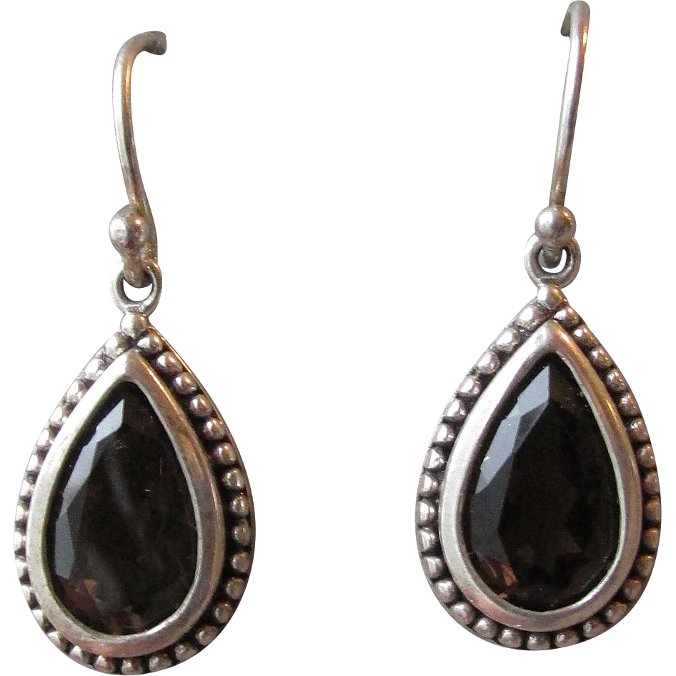 Darkest Brown Smoky Quartz in Sterling Silver Tear Drop Dangle Vintage Pierced Earrings