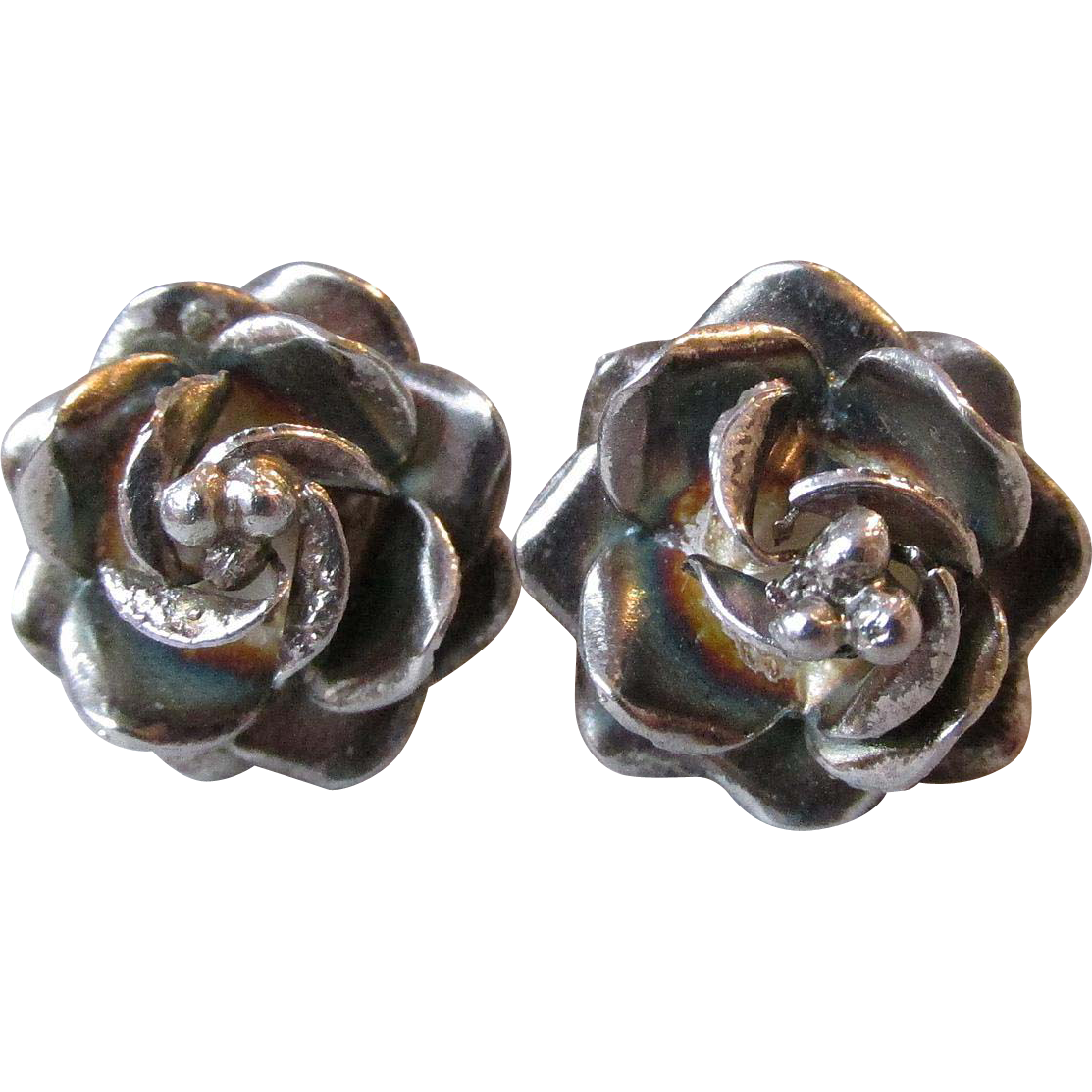 Vintage Taxco Mexico Sterling Silver 3-D Double ROSE Pierced Earrings