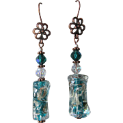 """My Secret Garden"" FOIL Art Glass Artisan Earrings, ""The Garden Hose"" #44"