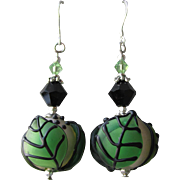 """My Secret Garden"" Lampwork Art Glass Artisan Earrings, ""Great Balls of Foliage"" #40"