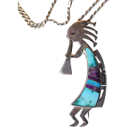 Vintage Native American Navajo Sterling Silver, Inlaid Turquoise & Sugilite KOKOPELLI Pendant Pin Necklace, Signed Jerry T. Nelson