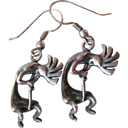 Vintage Native American Sterling Silver Dangle KOKOPELLI Earrings, Signed Shasha