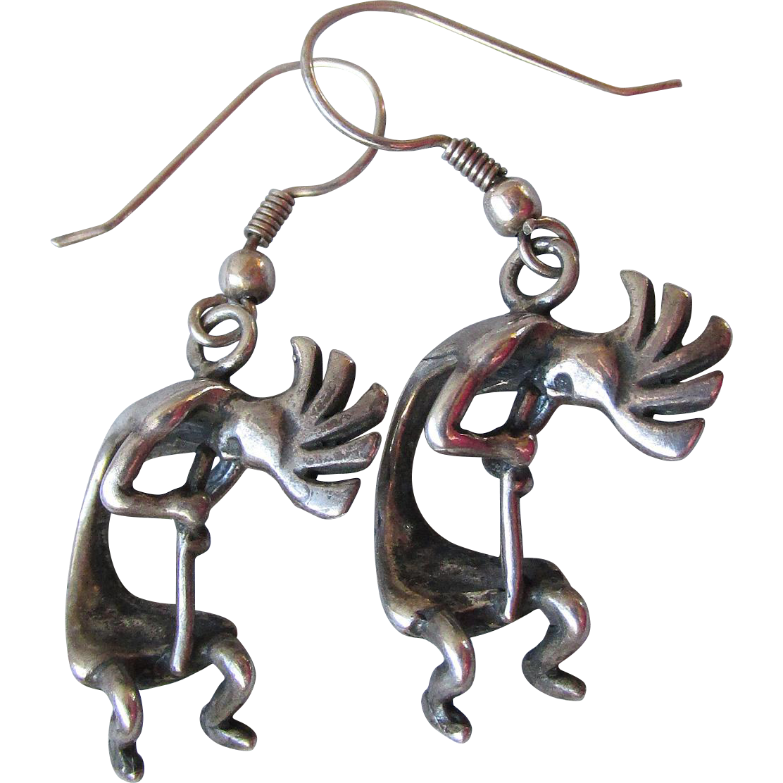 Vintage Native American Sterling Silver Dangle KOKOPELLI Earrings, Signed Shasha