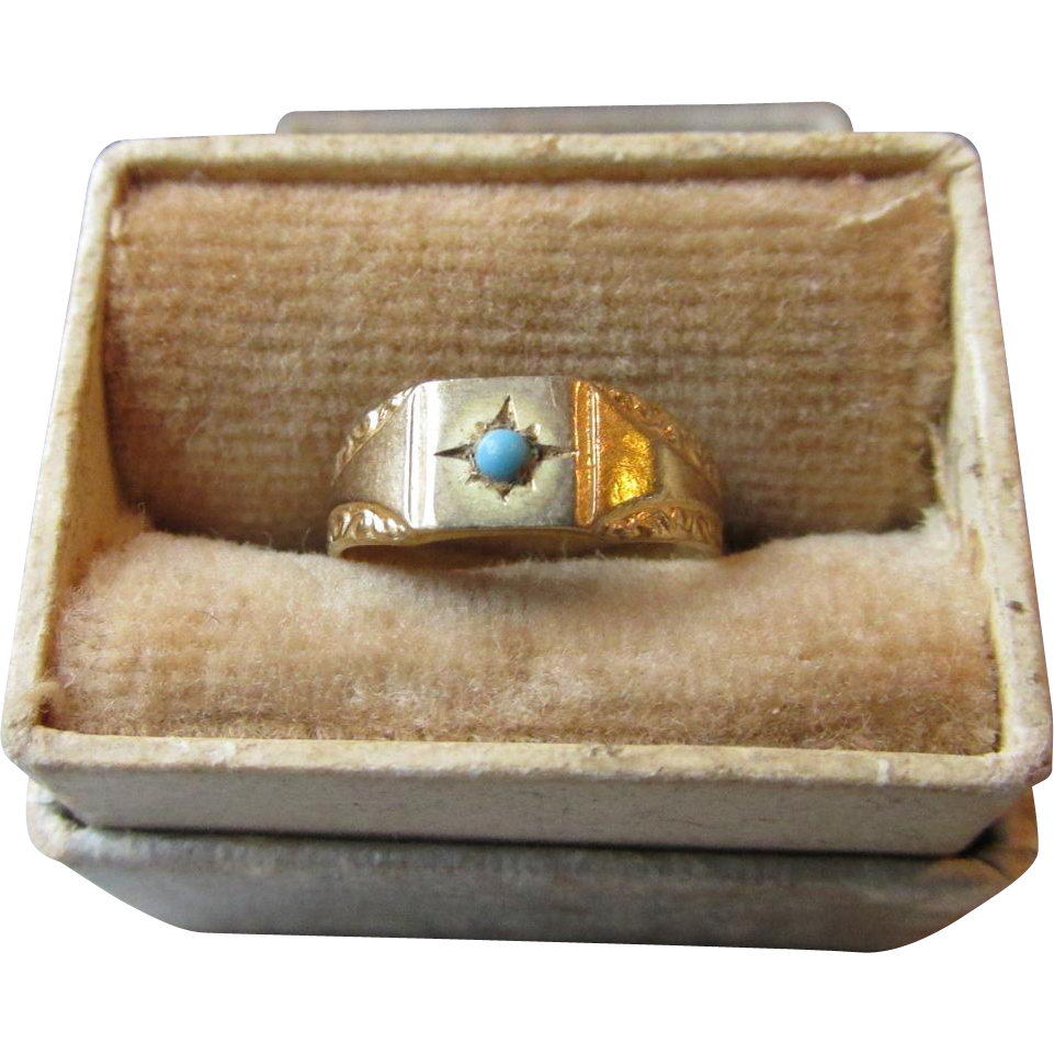 Antique Victorian 10k Gold & Persian Turquoise Signed Ostby & Barton BABY Ring, Mint In Box!
