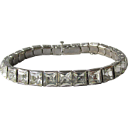 Art Deco Vintage 1930's Square Rhinestone Rhodium Plated Bracelet