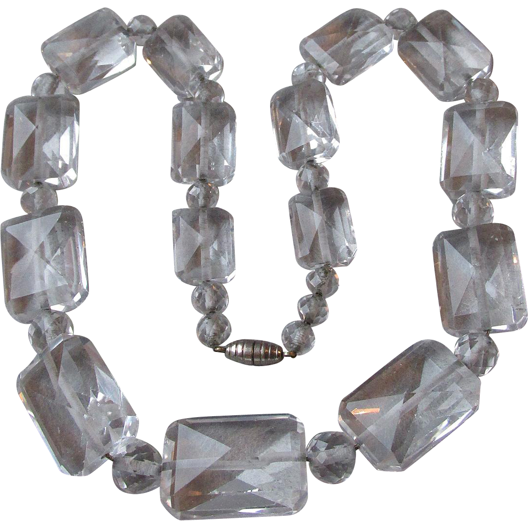 1930's Vintage Art Deco Hand-Faceted BIG Square Rock Crystal Quartz Bead Necklace on Sterling Silver