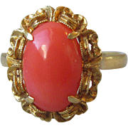 Magnificent Edwardian 18K Gold, Natural Mediterranean Coral Ring