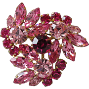 Vintage BIG Pink Rhinestone Made In Austria Flower Corsage Pin