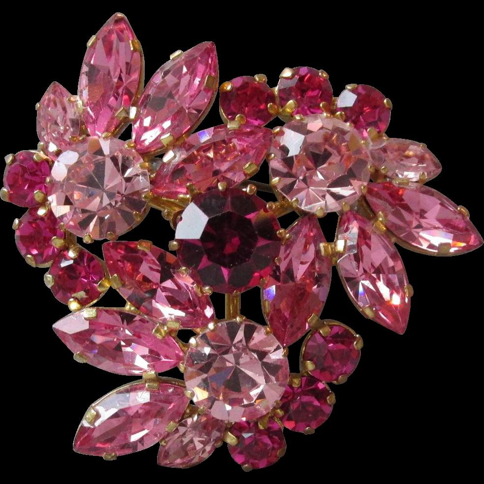 Vintage BIG Pink Rhinestone Made In Austria Flower Corsage Pin