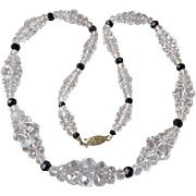 1930's Vintage Art Deco Rock Crystal Quartz Graduated Bead Necklace