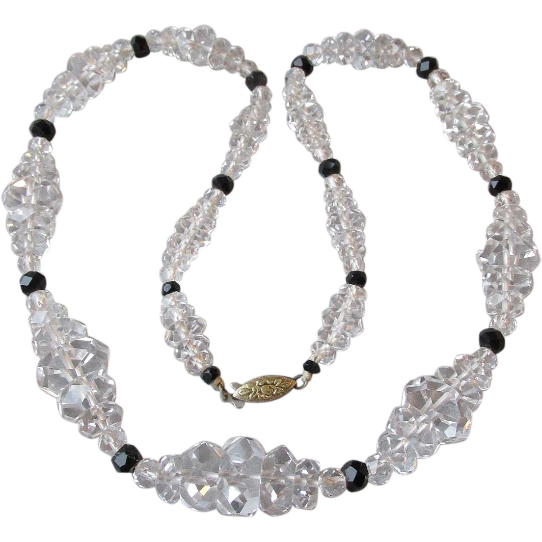 1930's Vintage Art Deco Rock Crystal Quartz Bead Necklace