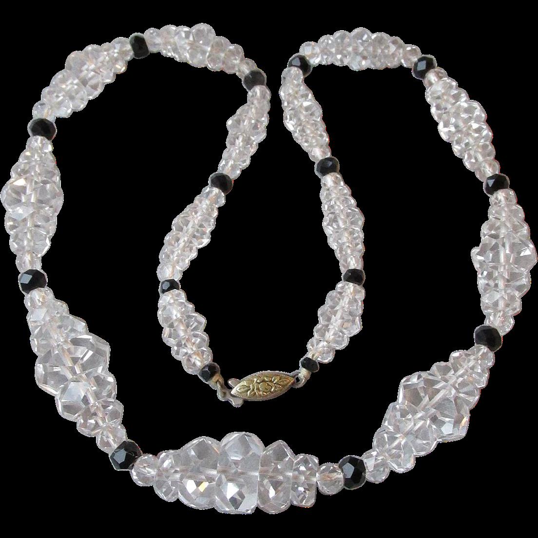 1930's Vintage Art Deco Rock Crystal Quartz Graduated Bead Necklace