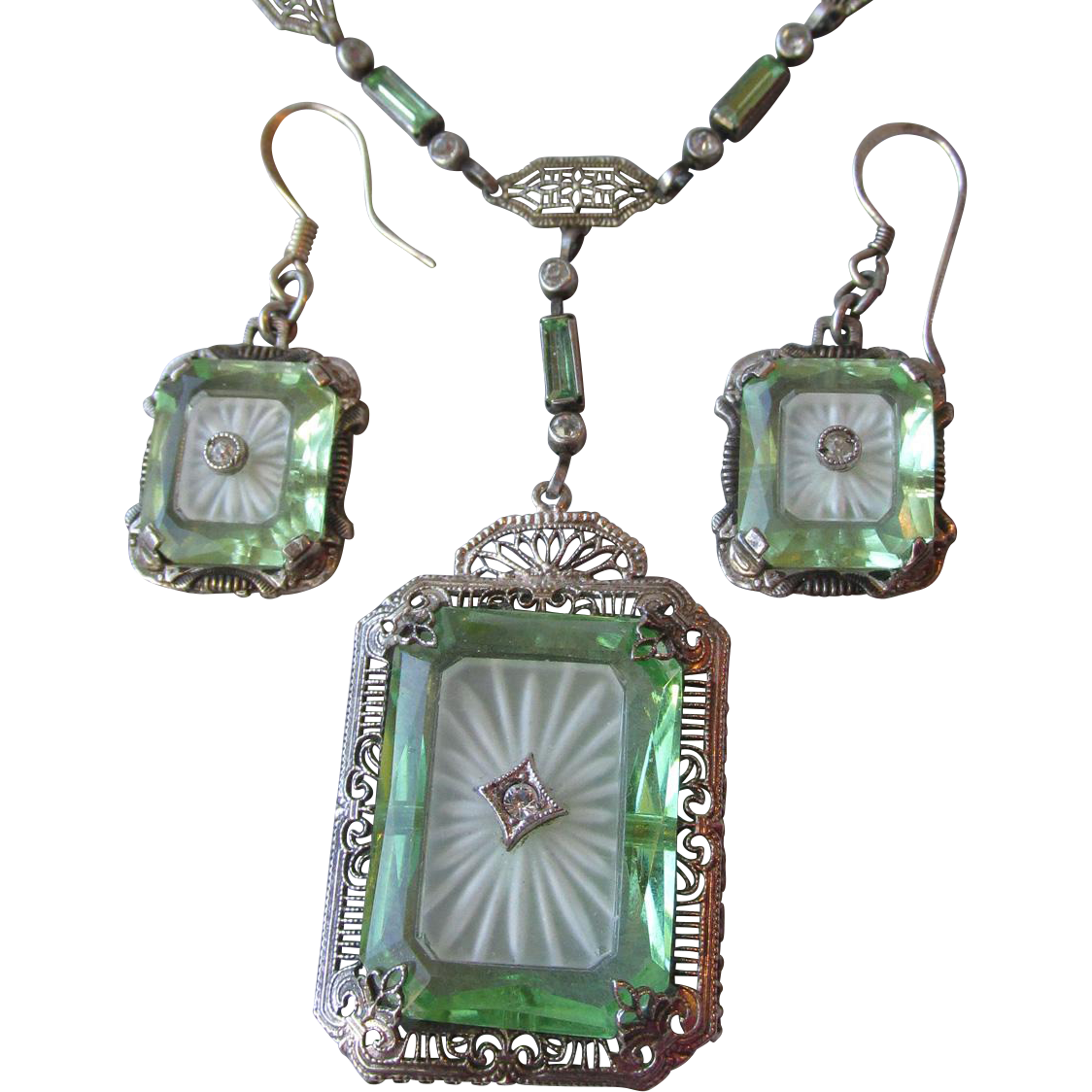 Vintage 1920's Sterling Silver, Green Vaseline & Camphor Glass Necklace & Earrings Set