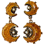 1950's Vintage Unsigned Florenza Glitter Yellow Orange Lucite Moon Faux Pearl Dangle Earrings