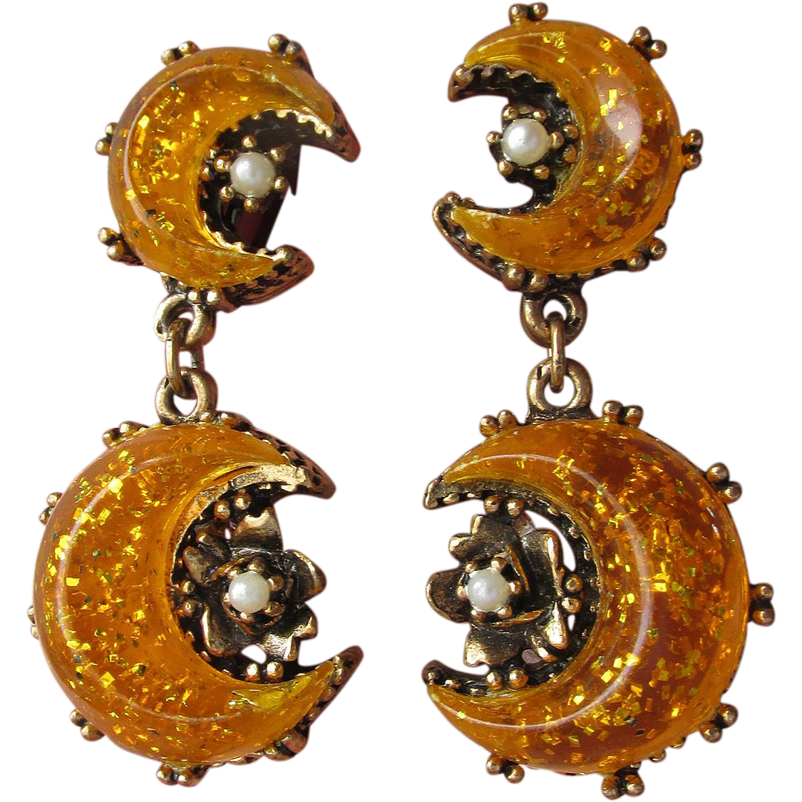 1950's Vintage Unsigned Florenza Glitter Orange Lucite Moon Faux Pearl Dangle Earrings