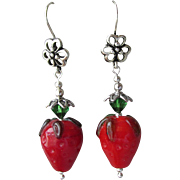 """My Secret Garden"" Lampwork Art Glass Artisan Earrings, ""Fruit Garden, Strawberries"" #48"