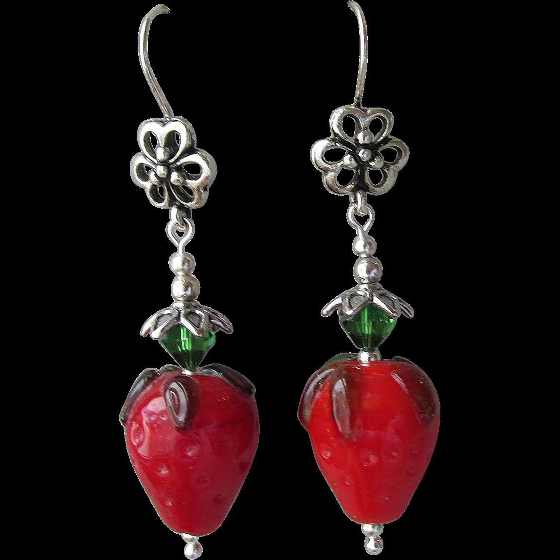 """My Secret Garden"" Lampwork Art Glass Artisan Earrings, ""Fruit Garden, Strawberries"" #48"