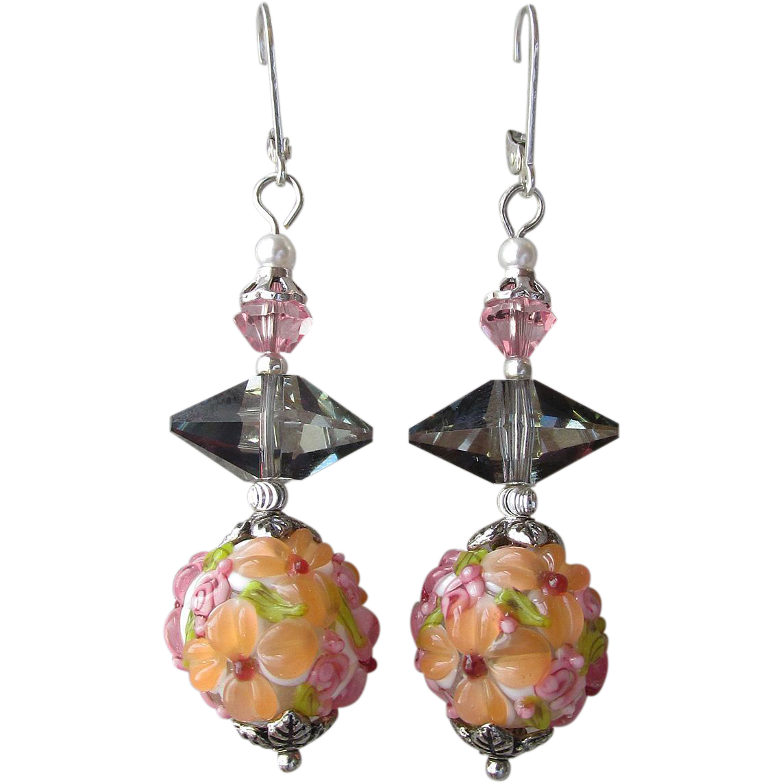 """My Secret Garden"" Lampwork Art Glass Artisan Earrings, ""Fruit Garden, Cosmic Apricot Blossoms"" #52"