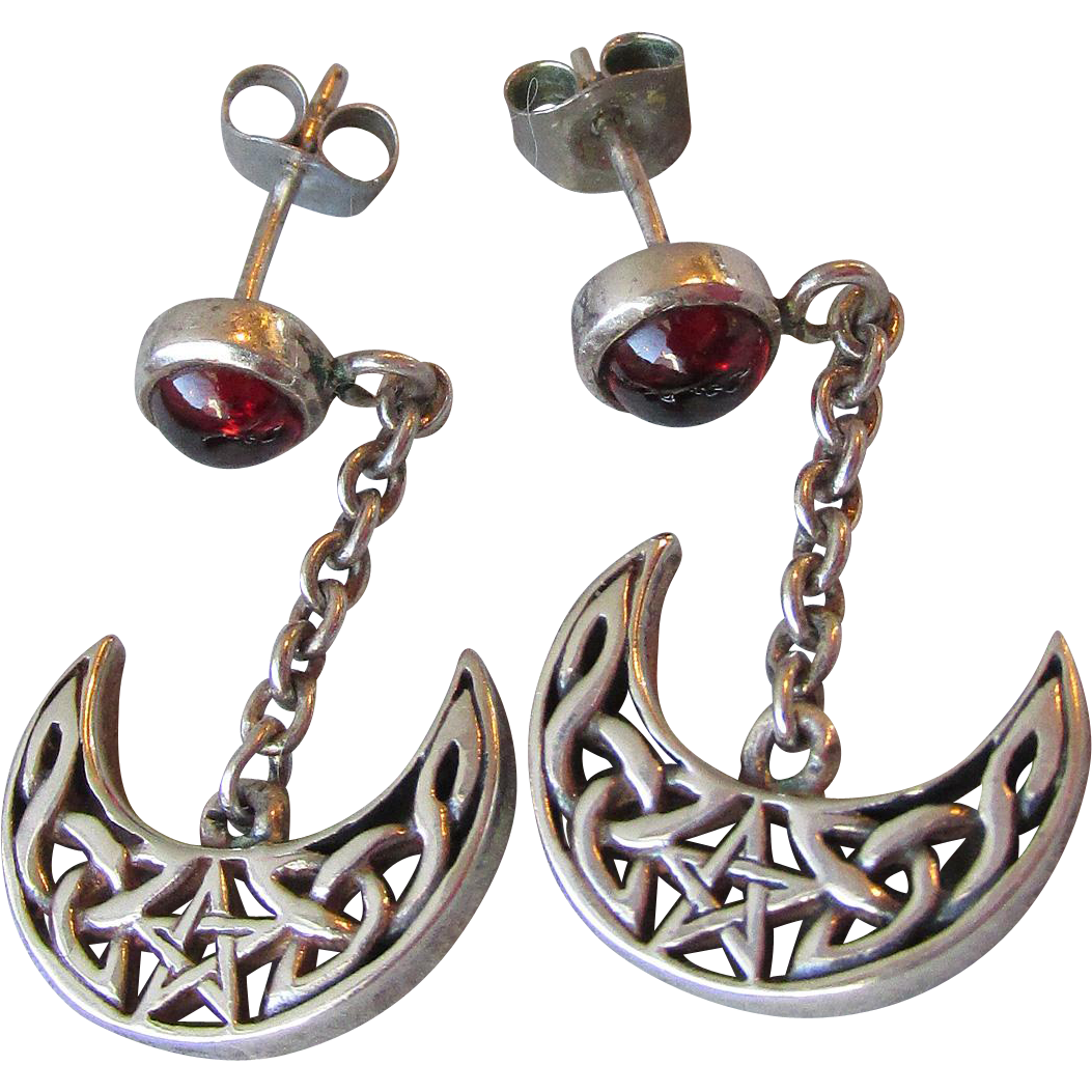Vintage Peter Stone Sterling Silver & Garnet Cabochon Dangle Earrings, Open Work Crescent Moon Dangle Charms with Irish Celtic Pentagram