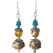 """My Secret Garden"" Lampwork Art Glass Artisan Earrings, ""Ice On the Rocks"" #59"