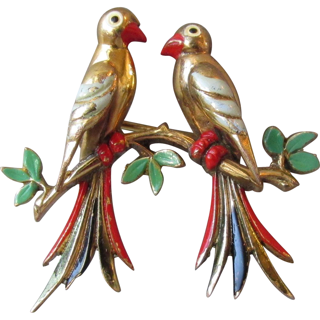 Vintage Swedish Pair of Tropical Birds On a Branch Pin Enameled Pin
