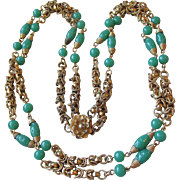 "Vintage Faux Jade Peking Glass Bead & Heavy Gold Tone Chain Long 27"" Double Strand Necklace"