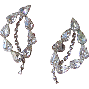 Sparkling Vintage Sterling Silver 1950's Rock Crystal Rhinestone Off Center Leaf Earrings