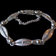 Delicate Vintage Signed Sorrento Sterling Silver Filigree Bracelet