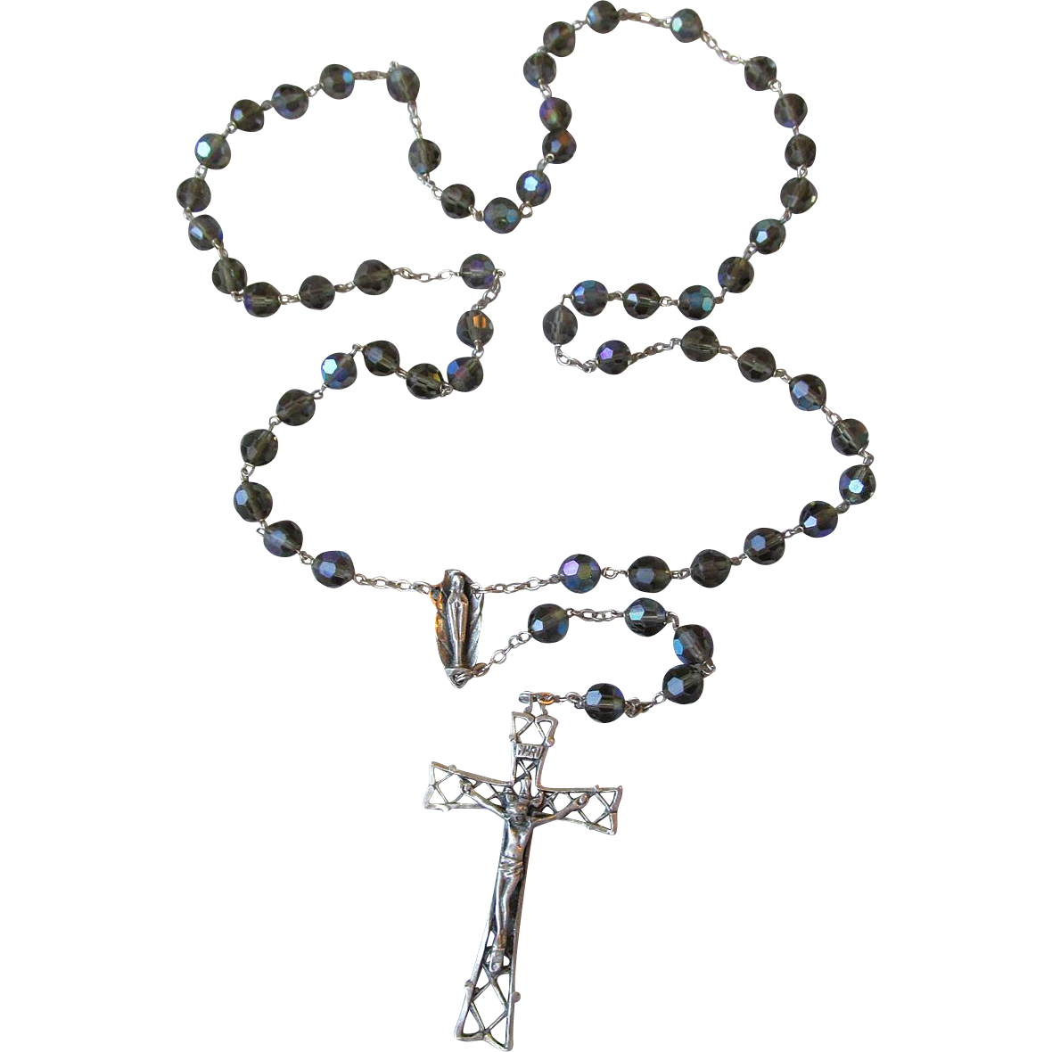 Vintage Italian Sterling Silver Gray AB Crystal Rosary Beads, Signed
