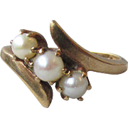 Vintage Modernist 1950's Baden & Foss 10k Yellow Gold & Three Cultured Pearl Ring, MINT In Box!