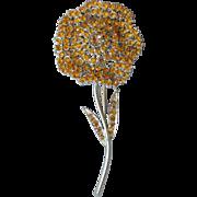 BIG Vintage 1960's Signed FRANCOIS by Coro Golden TOPAZ Rhinestone Flower Pin