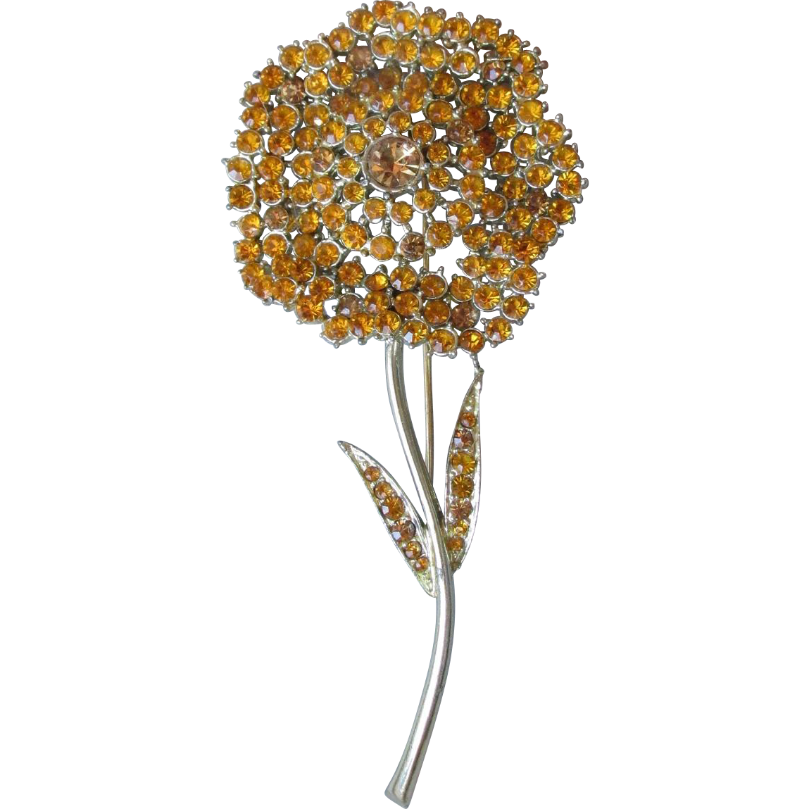 BIG Vintage 1960's Signed FRANCOIS by Coro Golden TOPAZ Rhinestone Flower Pin