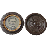 Scarce Antique 1880's Victorian Gutta Purcha OREO Twist Case & Tintype Photo of Handsome Young Man, Excellent Condition