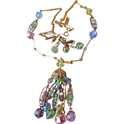 Beautiful 1960's Multi-Colored Pastel Crystal Tassel Necklace & Earrings Set, Vintage Demi Parure