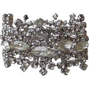 Magnificent WIDE Vintage Kramer Rhinestone Crown Shape Bracelet