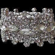 Spectacular!  WIDE Vintage Signed Kramer Rhinestone Crown Shape Bracelet