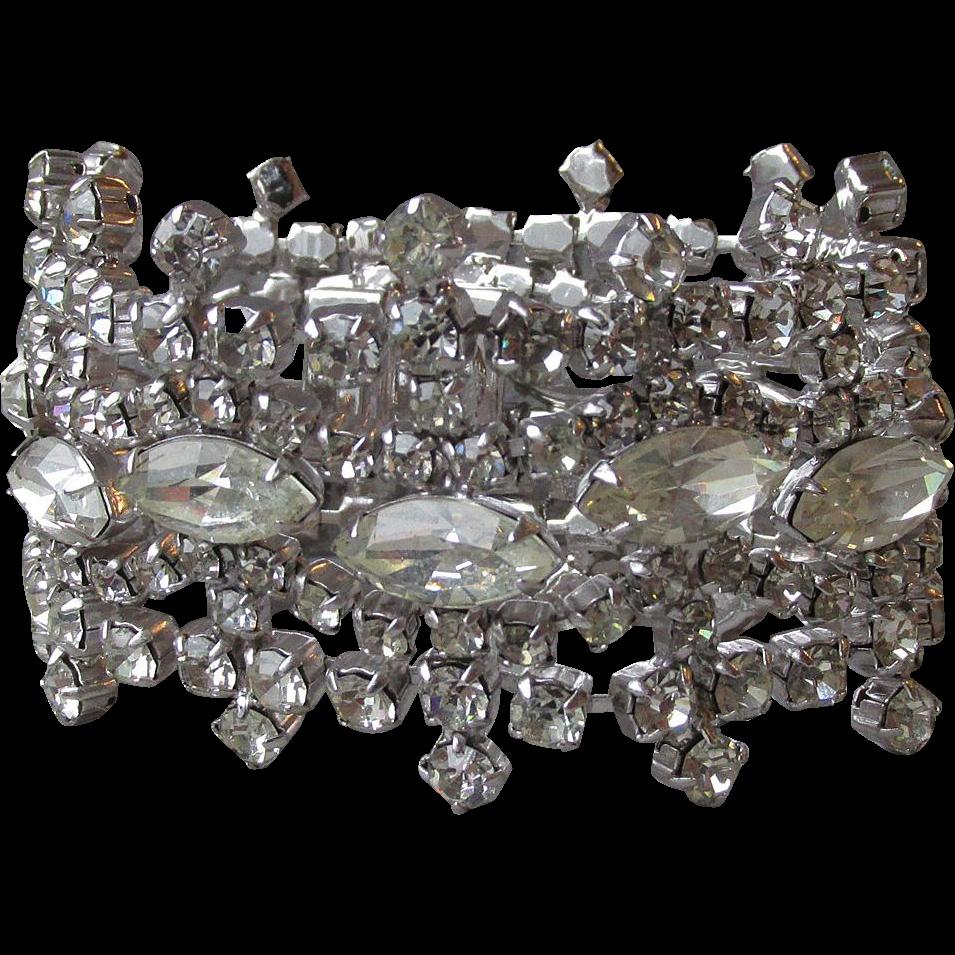 Magnificent WIDE Vintage Kramer Rhinestone Crown Shape Bracelet