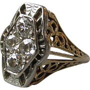 Vintage 1920's Art Deco 14k Gold Filigree & Diamond Estate Ring, Mint In Box
