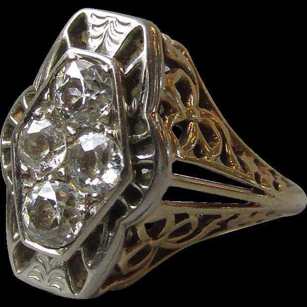 Vintage 1920's Art Deco 14k Gold Filigree & Diamond Estate Ring, Mint In Box