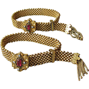 Pair Victorian Wedding Slide Mesh Tassel Bracelets with Paste Garnets & Seed Pearls