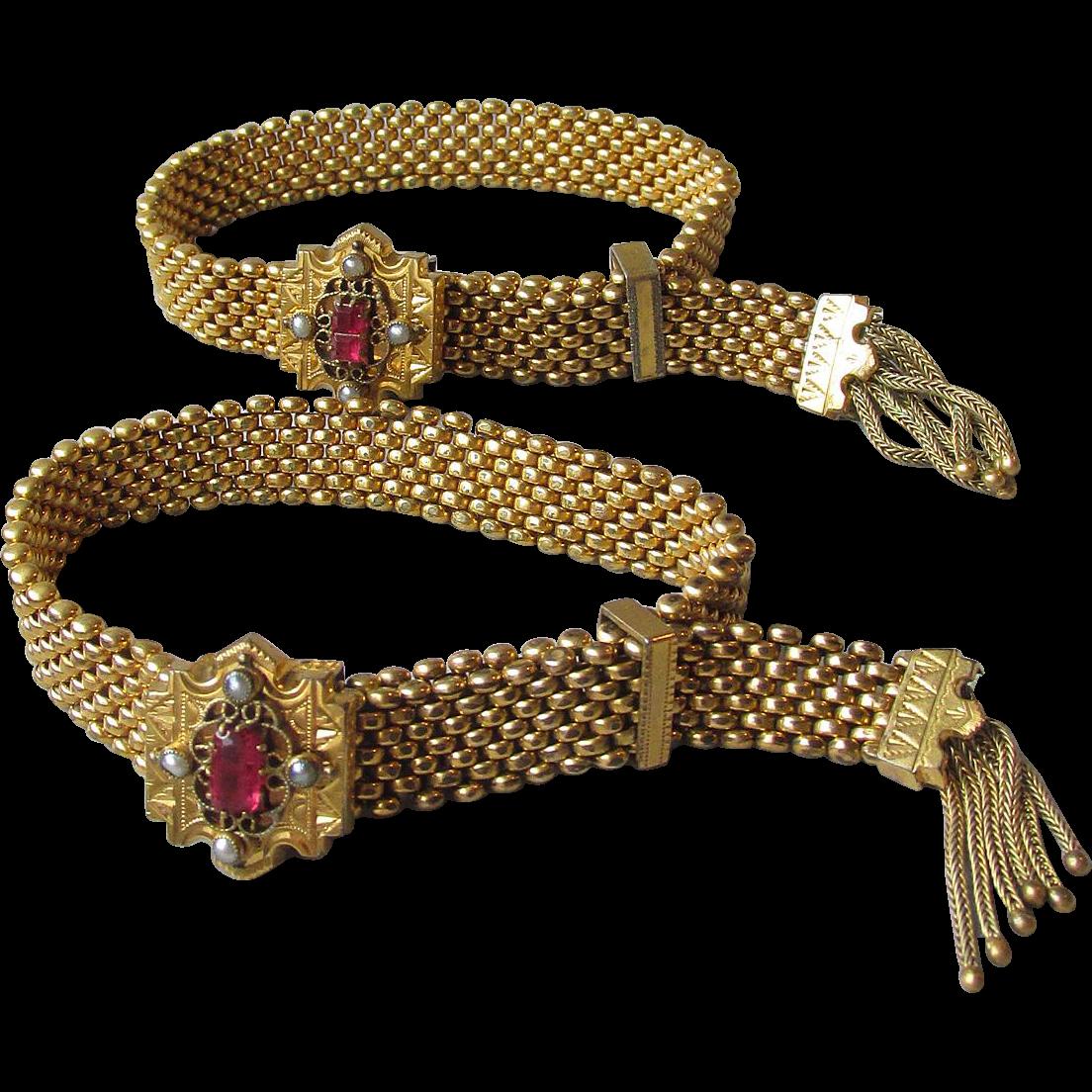 Pair Victorian Wedding Slide Mesh Tassel Bracelets with Paste Garnets & Seed Pearls