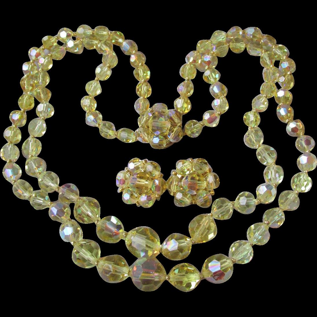Gorgeous! Vintage Double Strand Swarovski Citrine Yellow Aurora Borealis Crystal Necklace & Earrings Set