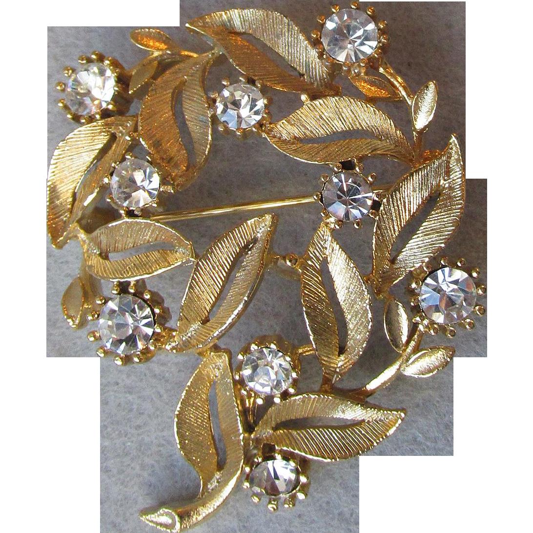 Signed LISNER Rhinestone Leaf Gold Tone Pin, Vintage 1960's Brooch
