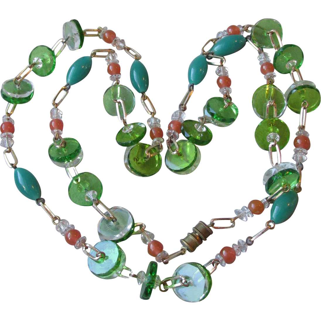Unusual Green Peking, Coral, & Disk Glass Bead Long Vintage Necklace
