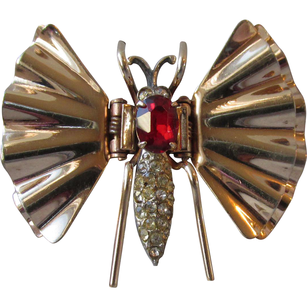 1930's Vintage Art Deco Reis Co. Rose Gold Filled Rhinestone BUTTERFLY Or Dragonfly Clip Pin