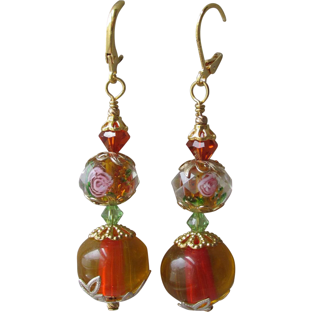 """My Secret Garden"" Art Glass Artisan Earrings, ""Red Hot Rose"" #60"