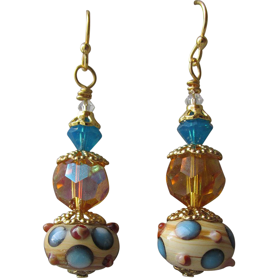 """My Secret Garden"" Art Glass Artisan Earrings, ""Ice on Golden Pond"" #61"